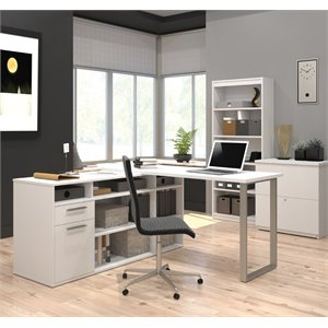 Bestar Solay L-Desk with Lateral File and Bookcase in White