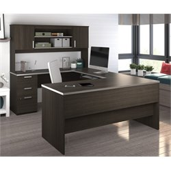 Bestar Ridgeley U-shaped Desk in Dark Chocolate