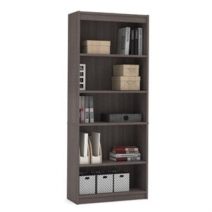 Bestar Standard 5 Shelf Bookcase in Bark Gray