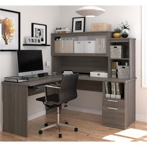 Bestar Dayton L-Shaped Desk in Bark Gray