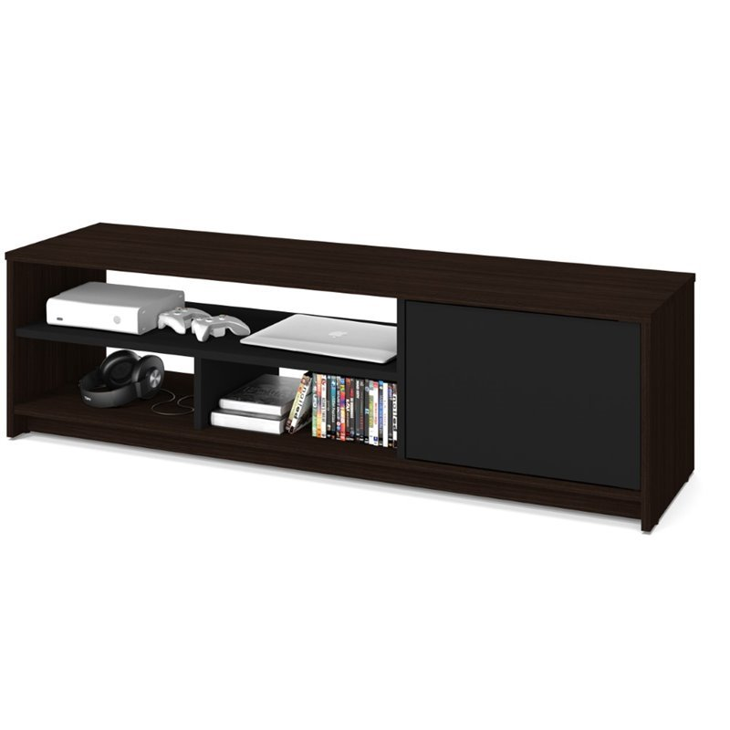 Bestar Small Space 53.5 TV Stand in Dark Chocolate and Black
