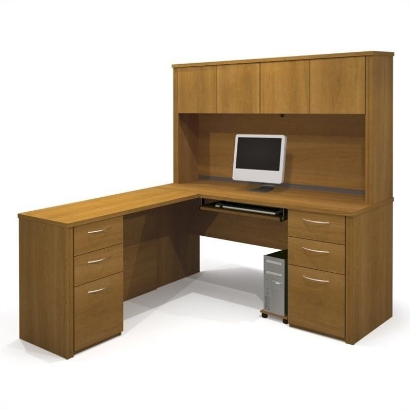 Embassy Home Office L-Shape Wood Computer Desk with Hutch in Cappuccino Cherry