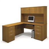 Bestar Embassy Home Office L-Shape Wood Computer Desk with Hutch in Cappuccino Cherry