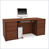 Bestar Prestige + Double Pedestal Wood Computer Desk in Cognac Cherry