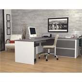 Bestar Connexion L-Shaped Desk with 1 Oversized Pedestal in Sandstone & Slate