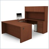 Bestar Prestige + U-Desk and Hutch Office Set in Cognac Cherry