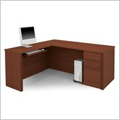 Bestar Prestige + L-Shaped Computer Desk in Cognac Cherry