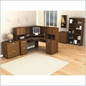 Bestar Elite Corner Desk and Hutch Office Set in Tuscany Brown