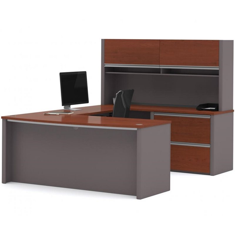 Connexion U-Shape Home Office Set with 1 Oversized Pedestal in Bordeaux and Slate