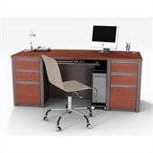 Bestar Connexion Home Office Set with 2 Pedestals in Bordeaux and Slate