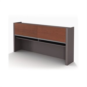 Bestar Connexion Office Credenza Hutch in Bordeaux and Slate