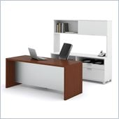 Bestar Pro-Linea Executive Kit in White and Cognac