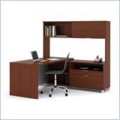 Bestar Pro-Linea L-shaped with Hutch Kit in Cognac and White