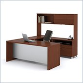 Bestar Pro-Linea U-shaped with Hutch Kit in Cognac and White