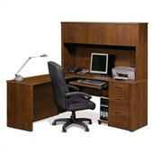 Bestar Embassy L-shaped Workstation with 1 Pedestal in Tuscany Brown