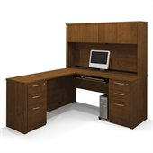 Bestar Embassy L-shaped Workstation with 2 Assembled Pedestals  in Tuscany Brown