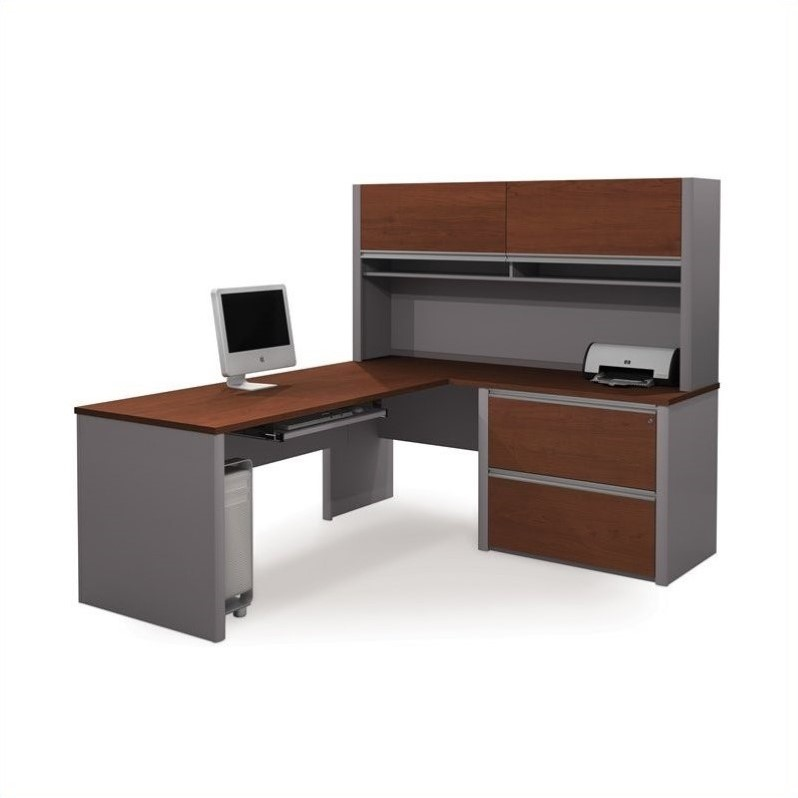 Connexion Executive L-Shaped Workstation with 1 Assembled Oversized Pedestal in Bordeaux