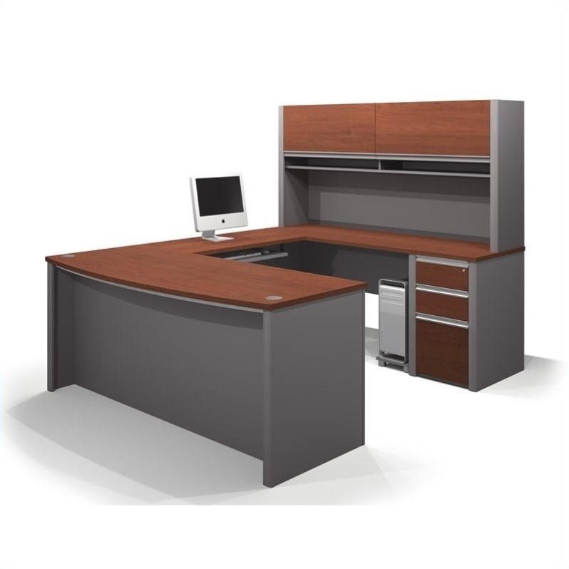 Connexion U-Shaped Workstation with 1 Assembled Pedestal in Bordeaux