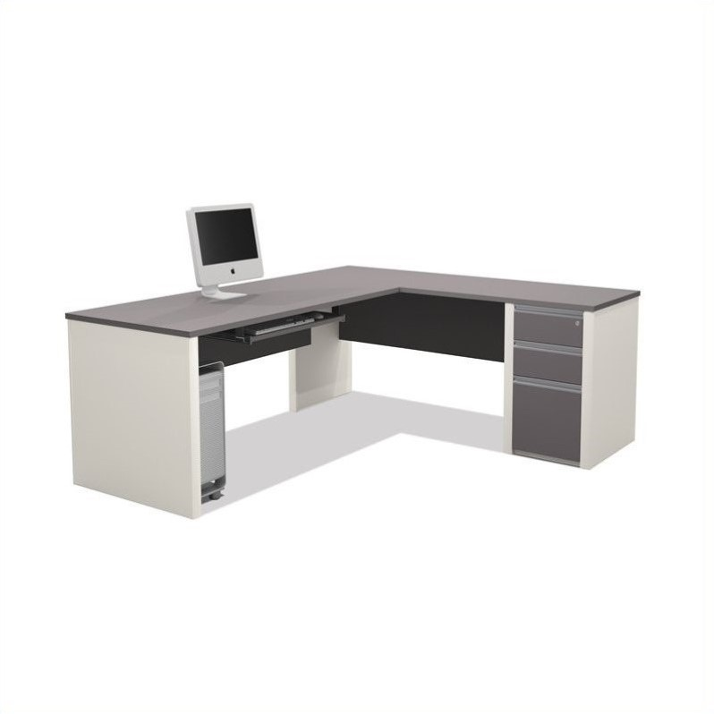 Connexion L-Shaped Workstation with 1 Assembled Pedestal in Sandstone