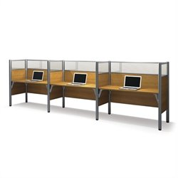 Bestar Pro-Biz Triple Side by Side Desk in Cappuccino Cherry