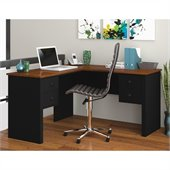 Bestar Somerville L-Shaped Desk in Black and Tuscany Brown
