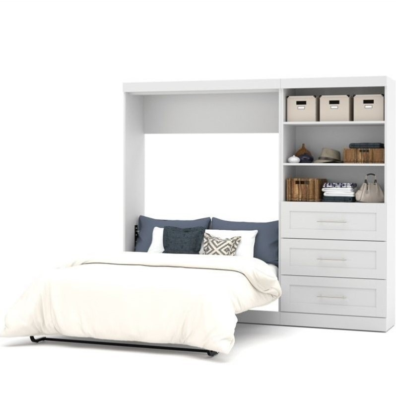 Bestar Pur 95 Full Wall Bed with 3-Drawer Storage Unit in White