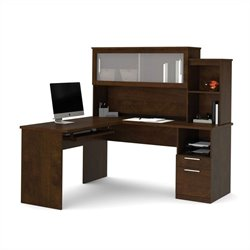 Bestar Dayton L-Shaped Desk in Chocolate