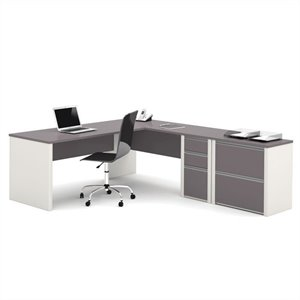 Bestar Connexion L-shaped Workstation with Lateral File in Slate and Sandstone