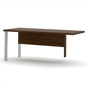 Bestar Pro-Linea Return Table with Metal Legs in Oak Barrel