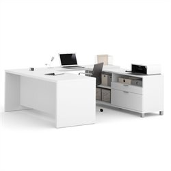 Bestar Pro-Linea U-Desk in White