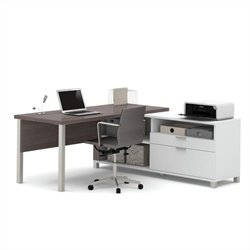 Bestar Pro-Linea L-Desk in White and Bark Grey