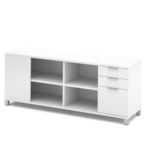 Bestar Pro Linea Credenza with Three Drawers in White