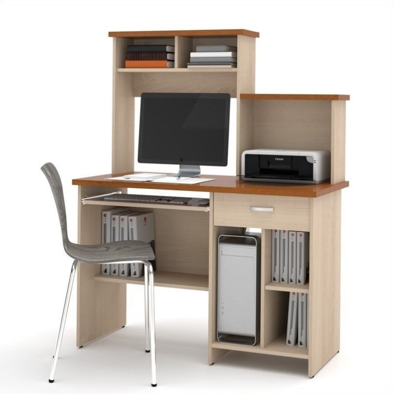 Active Home Office Computer Desk in Copper Cherry and Northern Maple