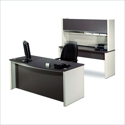 Bestar Connexion Wood Computer Desk Office Set with Hutch