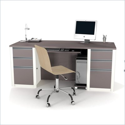 Bestar Connexion Home Office Set with 2 Pedestals in Sandstone and Slate