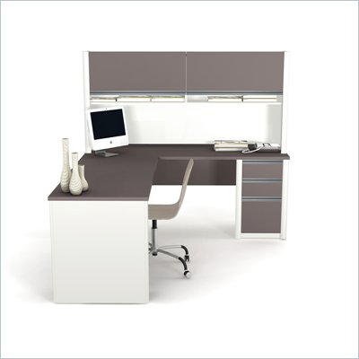Bestar Connexion L-Shape Wood Computer Desk with Hutch in Sandstone and Slate