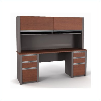 Bestar Connexion Credenza &amp; Hutch with 2 Pedestals in Bordeaux and Slate