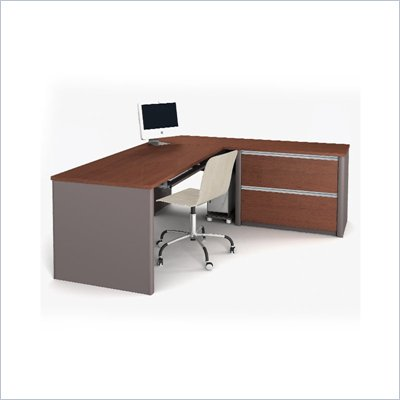 Bestar Connexion L-Shaped Desk with 1 Oversized Pedestal in Bordeaux and Slate