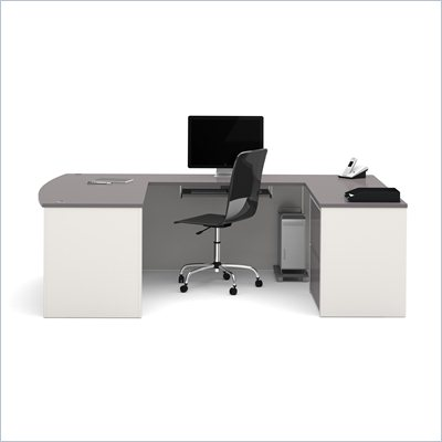 Bestar Connexion U-Shape Home Office Set with 1 Oversized Pedestal in Sandstone and Slate
