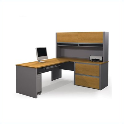 Bestar Connexion L-Shaped Office Set with 1 Oversized Pedestal in Cappuccino Cherry and Slate
