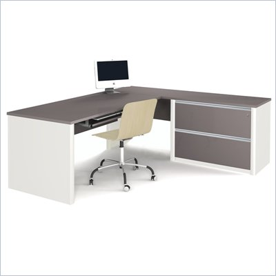 Bestar Connexion L-Shaped Workstation with 1 Assembled Oversized Pedestal in Sandstone