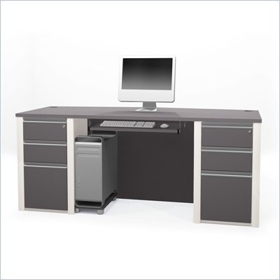 Bestar Connexion Executive Desk Kit with 2 Assembled Pedestals in Sandstone