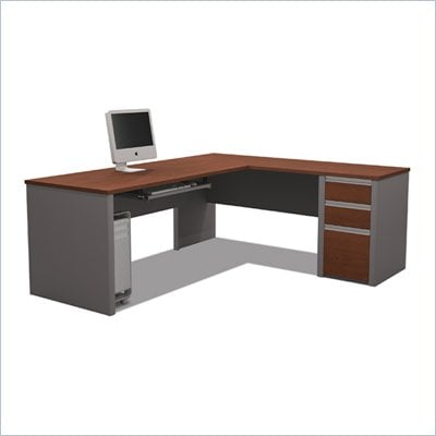 Bestar Connexion L-Shaped Workstation with 1 Pedestal in Bordeaux