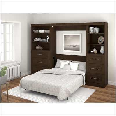 Bestar Create Full Size Wall Bed in Chocolate