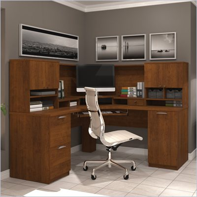Bestar Elite Corner Desk and Hutch in Tuscany Brown