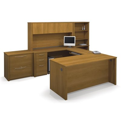 Bestar Embassy U-Shape Wood Office Set with Hutch in Cappuccino Cherry