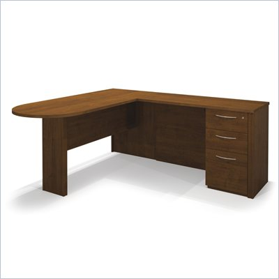 Bestar Embassy L-shaped Workstation with 1 Assembled Pedestal in Tuscany Brown