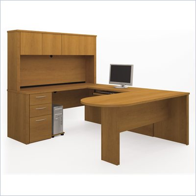 Bestar Embassy U-shape Wood  Home Office Set with Hutch in Cappuccino Cherry