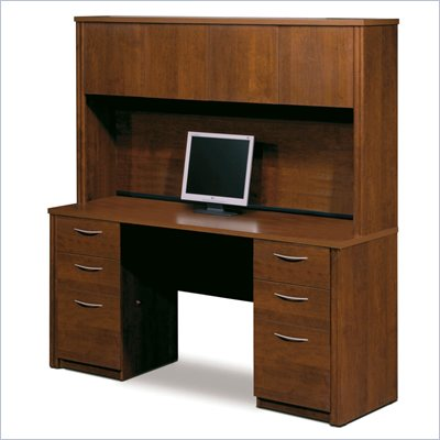 Bestar Embassy Home Office Double Pedestal Wood Computer Desk with Hutch in Tuscany Brown
