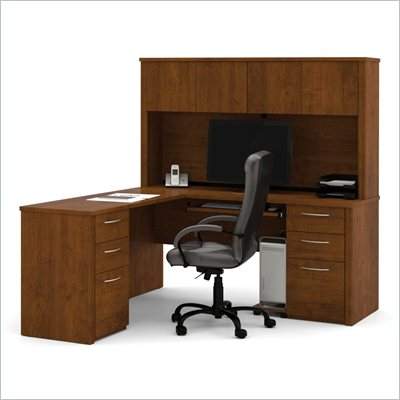 Bestar Embassy L-Shape Home Office Wood Computer Desk Set with Hutch in Tuscany Brown